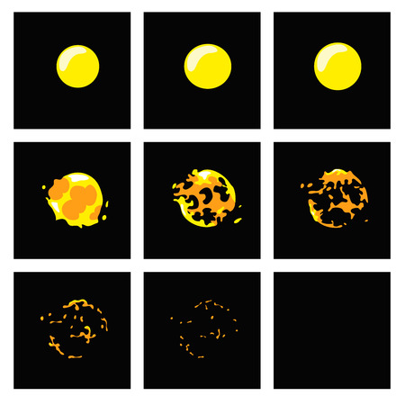 disappear: Cartoon water bubble burst , frames for animation.