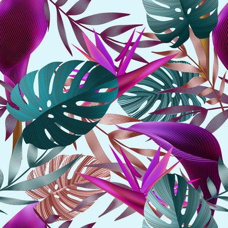 Tropical flowers, jungle leaves, bird of paradise flower. seamless floral pattern background, exotic print