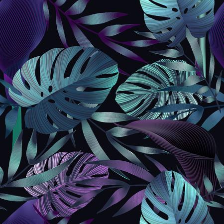 Les fleurs tropicales, les feuilles de la jungle, oiseau de paradis de fleurs. seamless floral pattern background, imprimé exotique