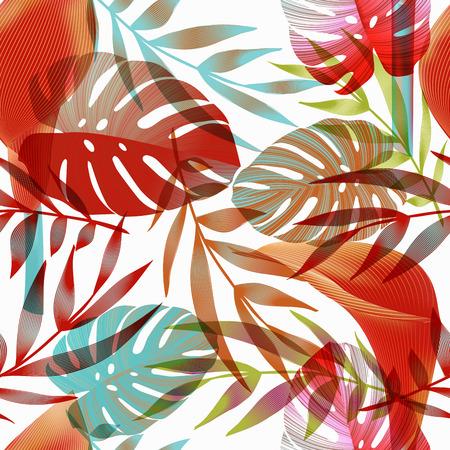 Les fleurs tropicales, les feuilles de la jungle, oiseau de paradis de fleurs. seamless floral pattern background, imprimé exotique Vecteurs