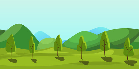 rural development: Cute cartoon country seamless horizontal landscape, nature  illustration