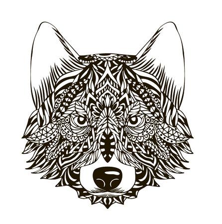 nature silhouette: Ornamental vintage wolf predator, black and white tattoo, decorative retro style. Isolated vector illustration
