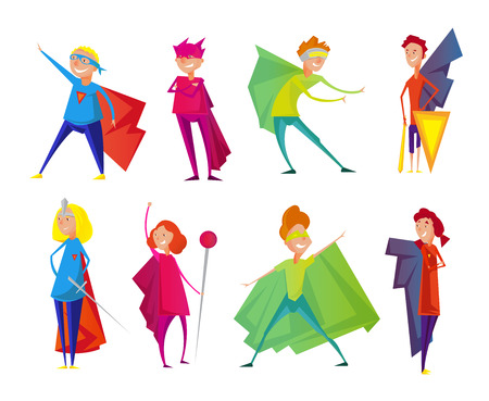 brave: Kids wearing colorful costumes of different superheroes, retro set isolated on white background cartoon vector illustration.
