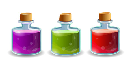 bung: Cartoon bottles with poison in different colors Illustration