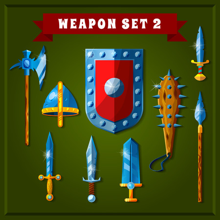 Set of cartoon weapons. Vector illustration