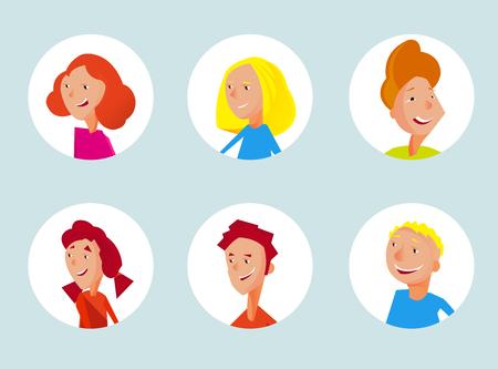 joyfull: Teenager avatars collection for graphic design Illustration