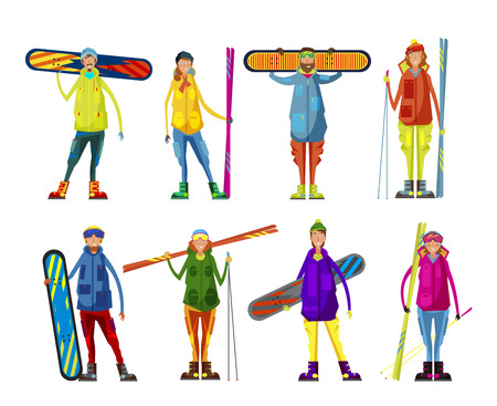 winter vacation: People with a snowboard and skis. Men and women are engaged in winter sports