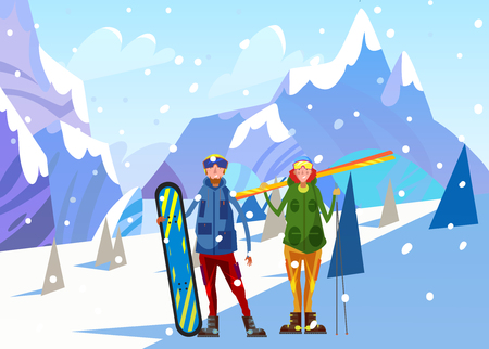 winter vacation: Snowboarder. Winter landscape Vector illustrate