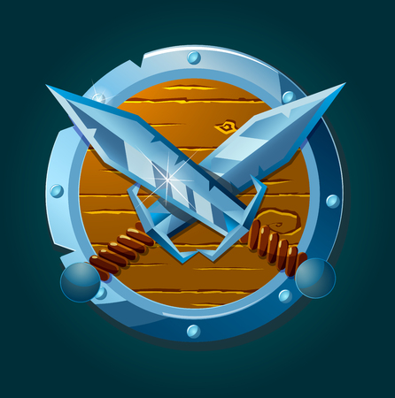 epic: Coat of arms with swords and shield. Vector illustration.