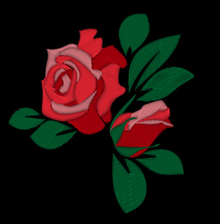 red rose: red rose embroidery vector hand drawing