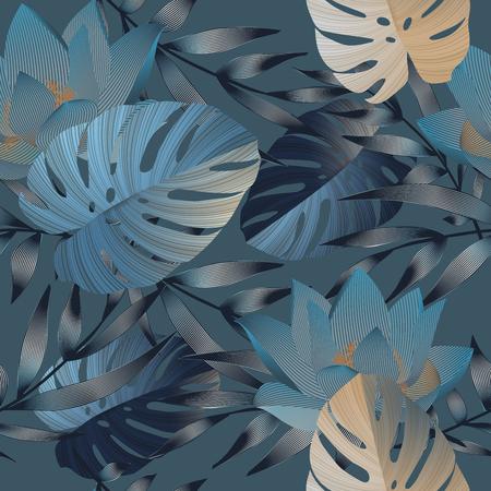 flores tropicales, hojas de la selva, flor de ave del paraíso. Beautiful vector de patrón floral sin fisuras de fondo, impresión exótica