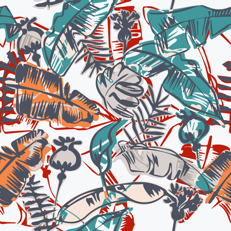 Seamless pattern of tropical palms leaves.