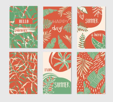 Set of artistic creative summer cards.