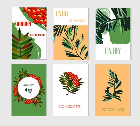 Ensemble de cartes artistiques créatives d'été.