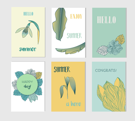 Set of creative Social Media Sale headers or banners with discount offer. Design for seasonal clearance. It can be used in advertising, web design, graphic design. Vector illustration. 版權商用圖片