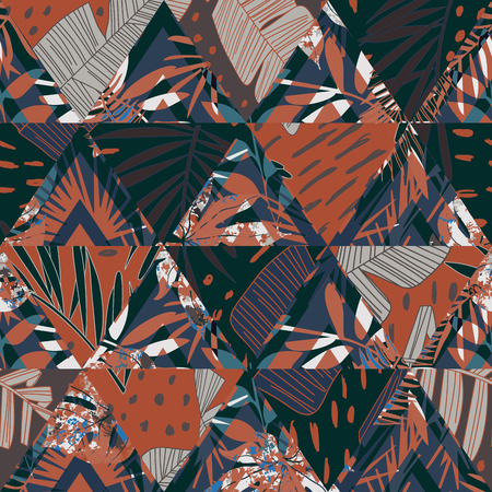 Artwork Seamless pattern with tropical leaves.