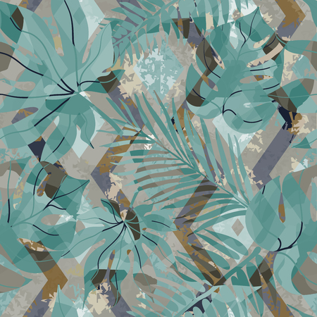 dabs: Seamless pattern with tropical leaves