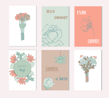 Set of artistic creative summer cards. Hand Drawn textures and brush lettering. 向量圖像
