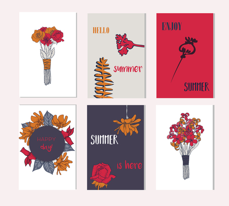 Set of artistic creative summer cards. Hand Drawn textures and brush lettering. Design for poster, card, invitation, placard, brochure, flyer. Ogange color 向量圖像