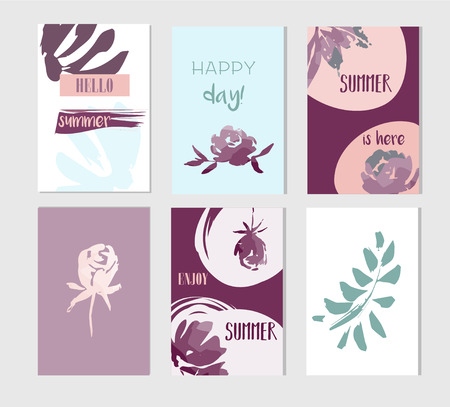 Set of artistic creative summer cards. Hand Drawn textures and brush lettering. Design for poster, card, invitation, placard, brochure, flyer. Vector templates. 向量圖像