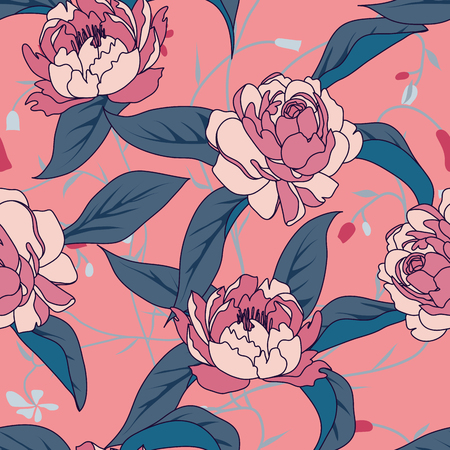Tropical flowers, leaves. Beautiful seamless vector floral pattern background, exotic print