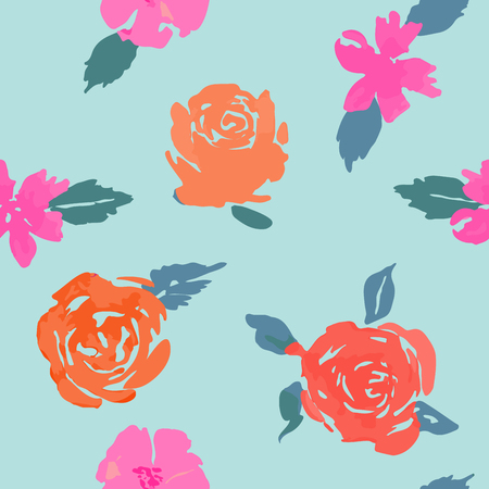 Seamless floral background. Isolated flowers and leaves drawn watercolor on white background.