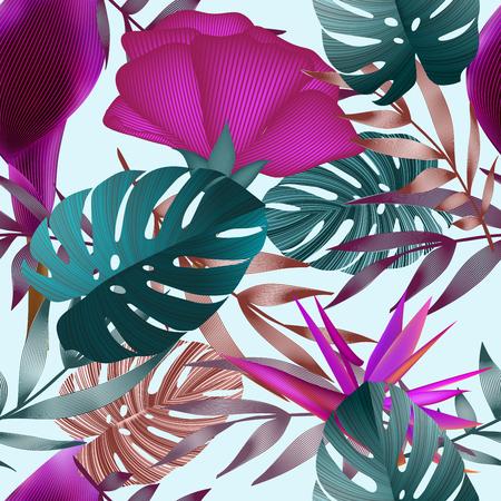 Tropische bloemen, jungle bladeren. Mooie naadloze vector bloemenpatroonachtergrond, exotische druk.