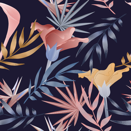 Tropical flowers, jungle leaves. Beautiful seamless vector floral pattern background, exotic print.