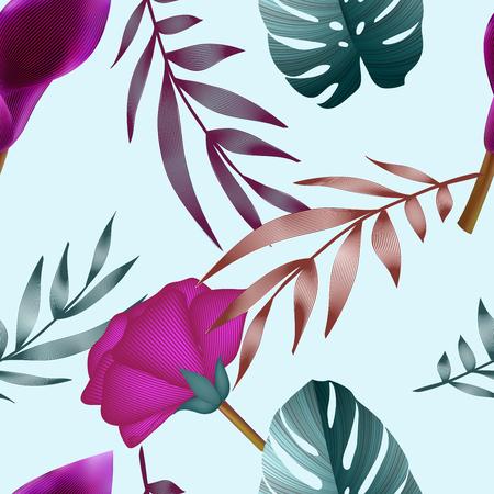 熱帯の花、ジャングルを葉します。