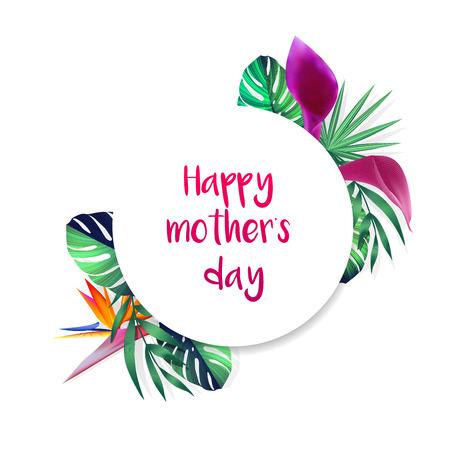 Gelukkige moeders dagkaart met tropische bloemen