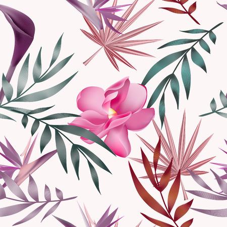 Tropical flowers, jungle leaves, bird of paradise flower.