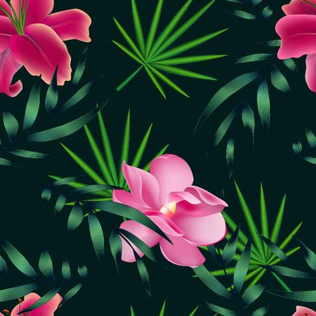 Tropische bloemen, jungle bladeren, paradijsvogel bloem.