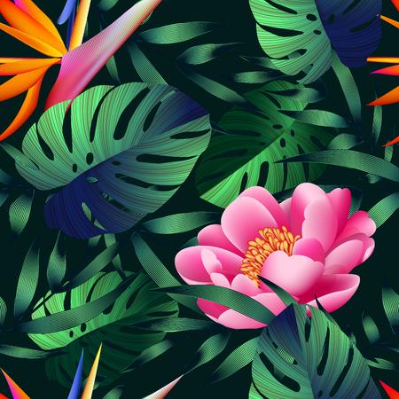 熱帯の花、ジャングルの葉、極楽鳥花。 写真素材 - 76314611