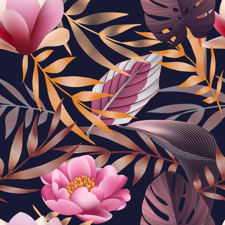熱帯の花、ジャングルの葉、極楽鳥花。 写真素材 - 76314609