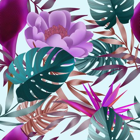 Tropical flowers, jungle leaves.