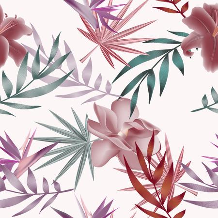 熱帯の花、ジャングルの葉、極楽鳥花。 写真素材 - 76435236