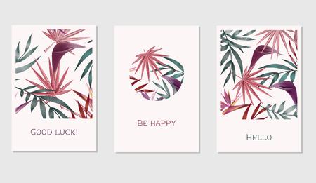 カラフルな熱帯の創造的なカードのセットは、バナー、ポスター、招待状、パンフレット、チラシなどの葉します。 写真素材 - 76580714