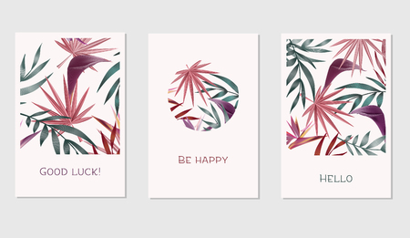Set of creative cards with colorful tropical leaves for Banner, Poster, Invitation, Brochure, Flyer etc.