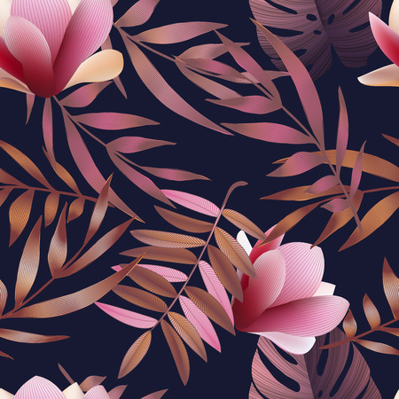 Tropical flowers, jungle leaves. Beautiful seamless vector floral pattern background, exotic print