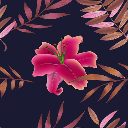 Tropical flowers, jungle leaves. Beautiful vector floral pattern background, exotic print