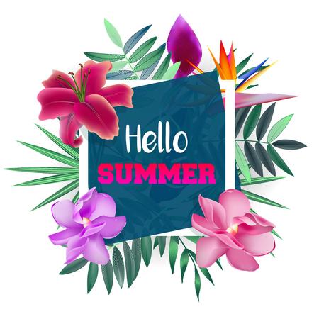 Ontwerpbanner met Hello Summer-logo. Kaart voor zomerseizoen met tropische bloemen en kruiden. Promotie aanbieding met zomerplanten, bladeren en decoratie. Vector. Stock Illustratie
