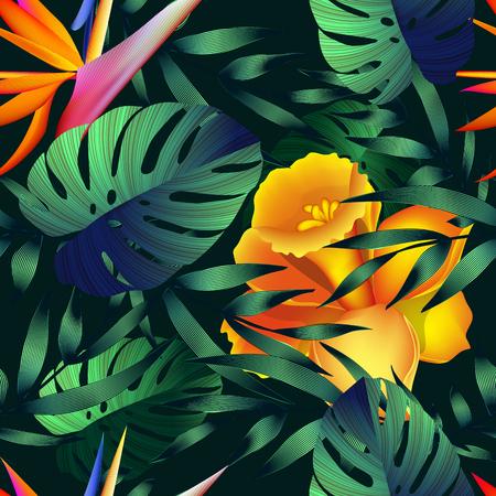 Tropische bloemen, jungle bladeren. Mooie naadloze vector bloemenpatroonachtergrond, exotische druk