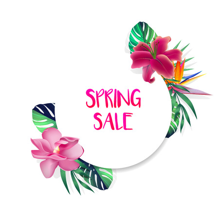 Design banner with Spring Sale logo. Card for spring season with tropical flowers and herb. Promotion offer with summer plants, leaves and decoration. Vector.