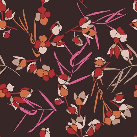 Eenvoudig schattig patroon in kleinschalige bloemen. Millefleurs. Liberty-stijl. Floral naadloze achtergrond voor textiel of boekomslagen, productie, achtergronden, afdrukken, cadeaupapier en scrapbooking. Stock Illustratie