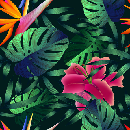 Tropical flowers, jungle leaves.
