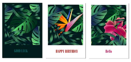 Set van creatieve universele bloemen kaarten in tropische stijl