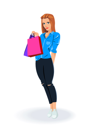 Young happy smiling woman with shopping bags Иллюстрация