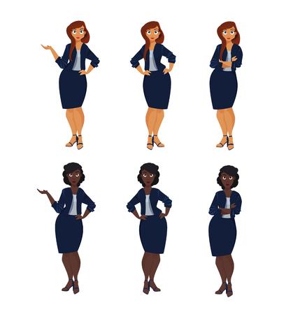 Set of plus size business woman.