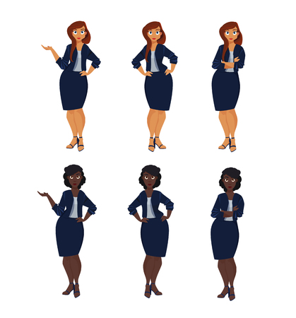 Set of plus size business woman.