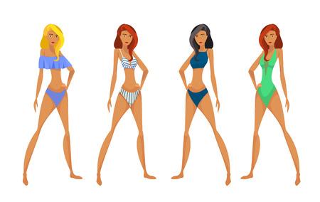 Vrouwen in zwembroek. Stock Illustratie